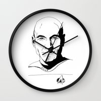 picard Wall Clocks featuring Jean-Luc Picard by Hippy Hoo Ha