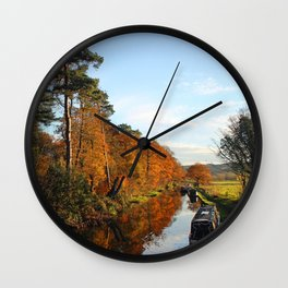 Trees by the Canal in the Fall Wall Clock