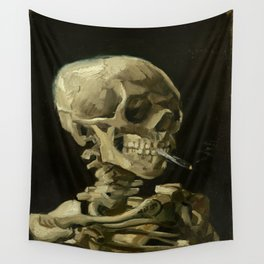 Vincent Van Gogh Skull of a Skeleton with Burning Cigarette Wall Tapestry