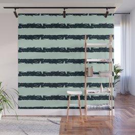 Texture Stripe Deep Blue and Light Cyan Wall Mural