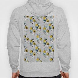 Modern, Blue, Yellow and White Skull Design Hoody