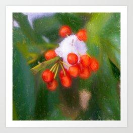 Snow on Red Berries Art Print