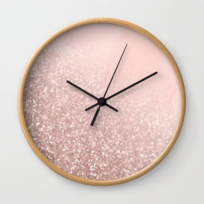 Rose Gold Sparkles on Pretty Blush Pink VI Wall Clock