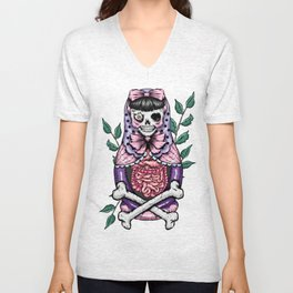 Zombie Russian Doll Unisex V-Neck