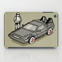 delorean iPad Cases featuring Stormtrooper and his Delorean by Vin Zzep