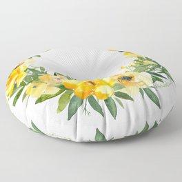 Yellow Floral Wreath Floor Pillow