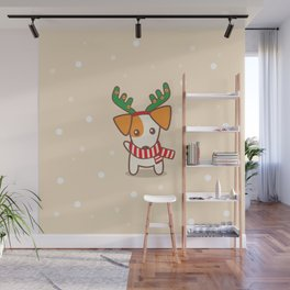 Jack Russell Terrier with Reindeer Antlers on snowy background Illustration Wall Mural