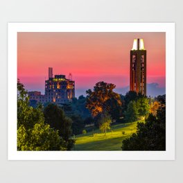 Red Dawn Over Kaw Valley and KU Campanile Bell Tower - Lawrence Kansas Art Print