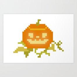 Pixel Art Pumpkin Art Print