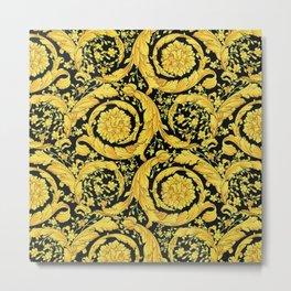 Black Gold Leaf Swirl Metal Print