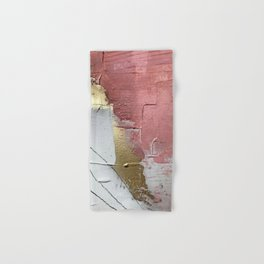 Darling: a minimal, abstract mixed-media piece in pink, white, and gold by Alyssa Hamilton Art Hand & Bath Towel
