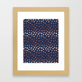 Rose Gold navy polka dot painted metallic pattern basic minimal pattern print Framed Art Print