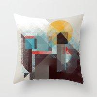 mountains Throw Pillows featuring Over mountains by Efi Tolia