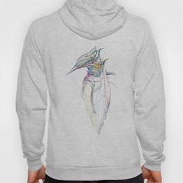 Kingfisher 1c. Color lines on white background-(Red eyes series) Hoody