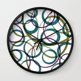 Abstract Circles - Green and Purple Wall Clock