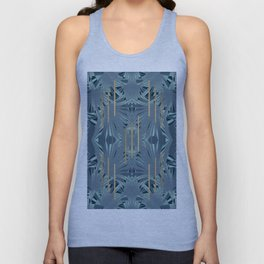 Tropical Art Deco 1.1a Blue, Green, Gold Unisex Tank Top