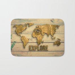 Explore Vintage World Map on Wood Bath Mat