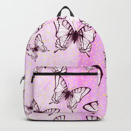 butterfly pattern on pastel pink Backpack
