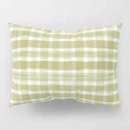 Watercolor Brushstroke Plaid Pattern Pantone Golden Lime Green 16-0543 Pillow Sham