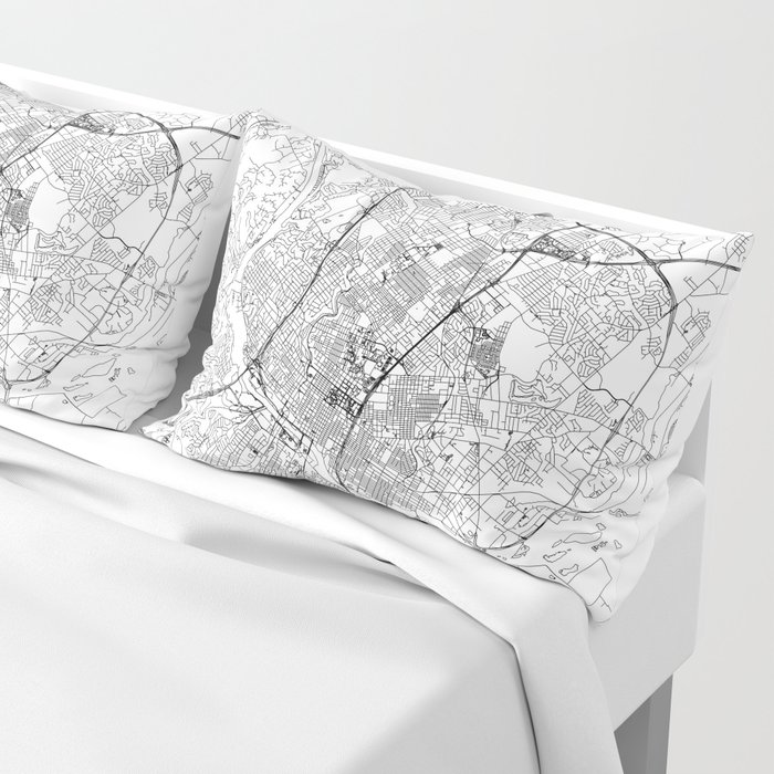 Austin White Map Pillow Sham