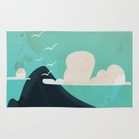 travel poster Area & Throw Rugs featuring Gibraltar vintage Travel poster by Nick's Emporium Gallery