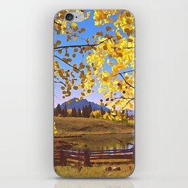 Aspen Leaves, Aspen Fence by a Lake iPhone Skin
