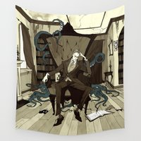 lovecraft Wall Tapestries featuring H.P. Lovecraft by Abigail Larson