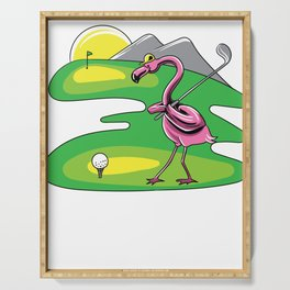 Flamingo play golf flamingo lover golf t-shirt Serving Tray