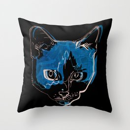 Kitty with a Soul Patch Throw Pillow