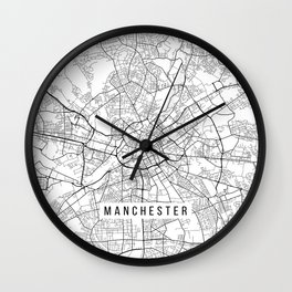 Manchester Map, England - Black and White Wall Clock