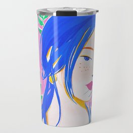 Girl and Aroid Palm Travel Mug
