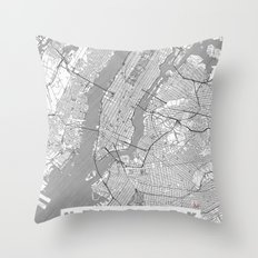 New York Map Line Throw Pillow