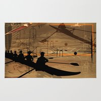 rowing Area & Throw Rugs featuring Rowing by Robin Curtiss