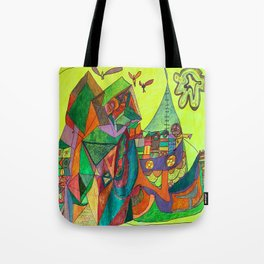 A Community House Boat on the Sea Tote Bag