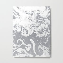 Suminagashi grey and white 1marble spilled ink ocean swirl watercolor painting Metal Print