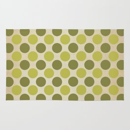 Vintage green circles retro pattern Rug