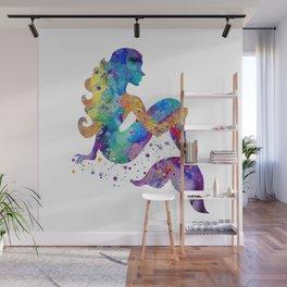 Mermaid Art Mermaid Sitting Colorful Watercolor Artwork Mermaid Lovers Gift Wall Mural