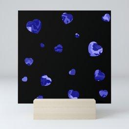 Chaotic Hearts Dark Blue Dapple Mini Art Print