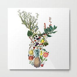 Botanical Deer Metal Print