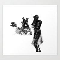 outlander Art Prints featuring Outlander Warrior and Maiden Sketch [Digital Figure Illustration] by Grant Wilson