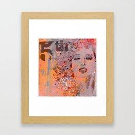 Wild Woman modern face mixed media art orange Framed Art Print