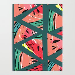 Green Watermelon pattern Poster