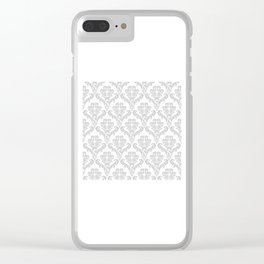 DAMASK GREY Clear iPhone Case