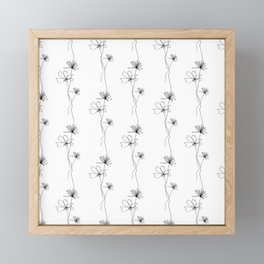 Flowers Line Drawing Pattern Black and White Framed Mini Art Print