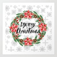 merry christmas Art Prints featuring Merry Christmas by Julia Badeeva