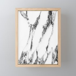 White Black Marble Design Framed Mini Art Print