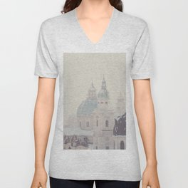 beneath the snow covered domes ... Unisex V-Neck