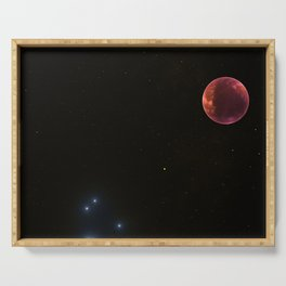 ZoooooZ - red Moon in the wide Galaxie Serving Tray