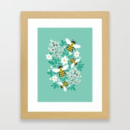 Blooms & Bees Framed Art Print
