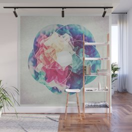 Geometry Triangle Wave Multicolor Mosaic Pattern - (HDR - Low Poly Art) Wall Mural